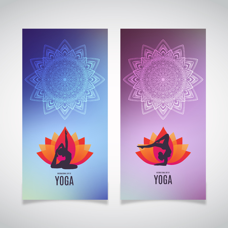 Yoga banner collection. Ethnic ornament and human asana silhouette. Eps 10 vector illustration.