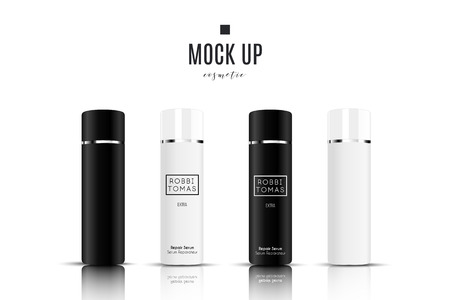 Realistic white and black cosmetic cream container and tube for cream, ointment, toothpaste, lotion Mock up bottle. Gel, powder, balsam with design label. Soap pump. Containers for bulk mixtures.