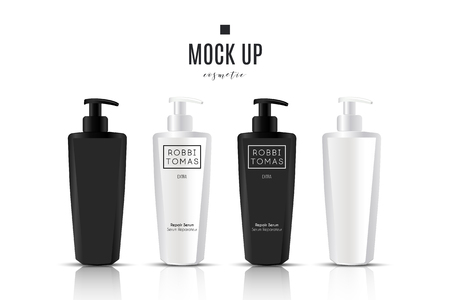 Realistic white and black cosmetic cream container and tube for cream, ointment, toothpaste, lotion mock up bottle. Gel, powder, balsam, with design label, soap pump. Containers for bulk mixtures.