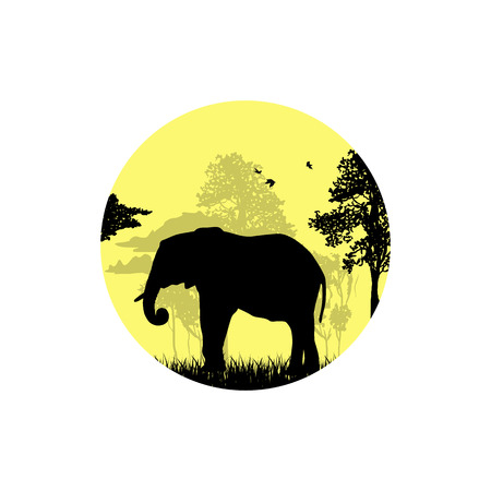 Silhouette of an elephant in the forest  イラスト・ベクター素材