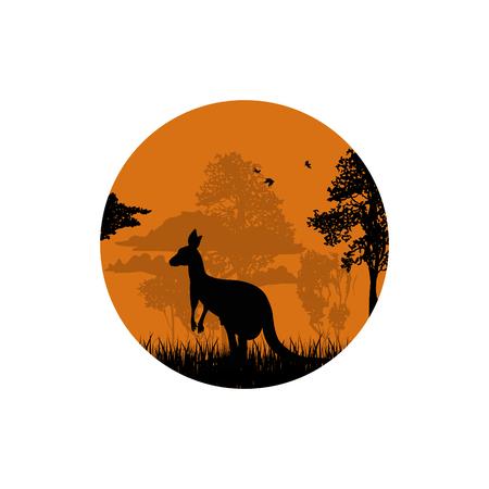 森の中のカンガルーのシルエット 写真素材 - 100227588