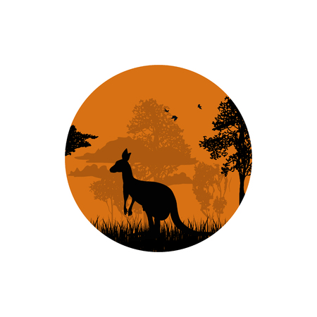 Silhouette of a kangaroo in the forest