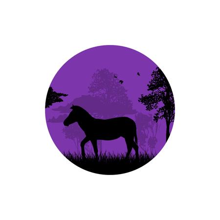 森の中の馬のシルエット 写真素材 - 100227587