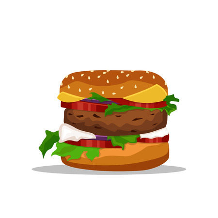 Vector drawing of hamburger with cheese, tomatoes, chop, lettuce, onion, cucumber in flat cartoon style. Illustration for design fast food menu.