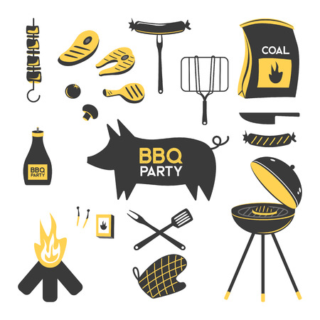 BBQ grill meat barbecue restaurant party at home dinner vector products skewer grilling kitchen equipment flat illustration Archivio Fotografico - 100848779