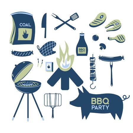 バーベキューグリル肉バーベキューレストランパーティーホームディナーベクター製品串焼きキッチン機器フラットイラスト 写真素材 - 100900602