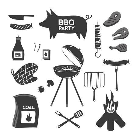 BBQ grill meat barbecue restaurant party at home dinner vector products skewer grilling kitchen equipment flat illustration Archivio Fotografico - 100900603