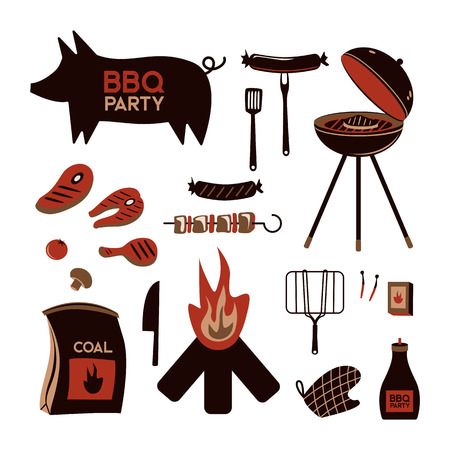 BBQ grill meat barbecue restaurant party at home dinner vector products skewer grilling kitchen equipment flat illustration Archivio Fotografico - 100848780