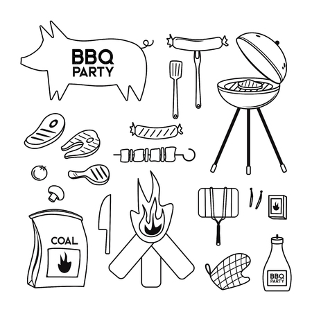 BBQ grill meat barbecue restaurant party at home dinner vector products skewer grilling kitchen equipment flat illustration Archivio Fotografico - 100848782
