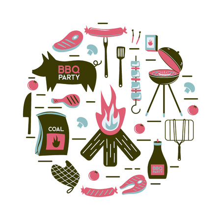 BBQ grill meat barbecue restaurant party at home dinner vector products skewer grilling kitchen equipment flat illustration Archivio Fotografico - 100848784