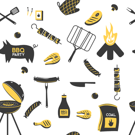 BBQ grill meat barbecue restaurant party at home dinner vector products skewer grilling kitchen equipment flat illustration
