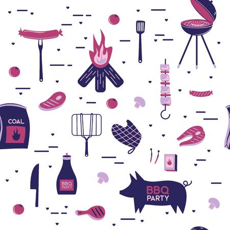 バーベキューグリル肉バーベキューレストランパーティーホームディナーベクター製品串焼きキッチン機器フラットイラスト 写真素材 - 100900604
