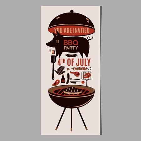 Barbecue grill barbecue barbecue ristorante ristorante a cena cena barbecue barbecue grigliate piatti piatti piatti illustrazione Archivio Fotografico - 101014178