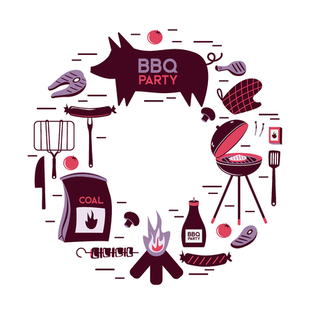 BBQ grill meat barbecue restaurant party at home dinner vector products skewer grilling kitchen equipment flat illustration Archivio Fotografico - 100900608