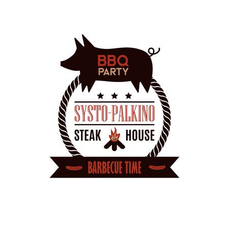BBQ grill meat barbecue restaurant party illustration Archivio Fotografico - 100850156