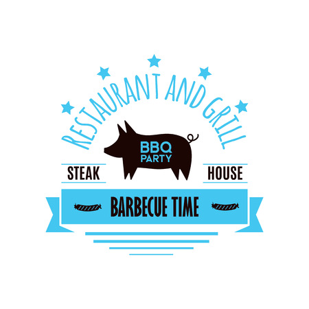 BBQ grill meat barbecue restaurant party at home dinner vector products skewer grilling kitchen equipment flat illustration Archivio Fotografico - 100900607