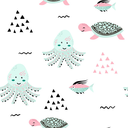 Sea life. Underwater world. Fish, jellyfish, sea bottom, backwaters ship, algae, treasure. Vector flat illustrations and icon set