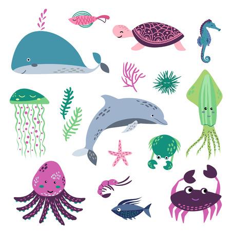 海の生命。水中の世界。魚、クラゲ、海底、背水船、藻類、宝物。ベクトルフラットイラストとアイコンセット 写真素材 - 101262863