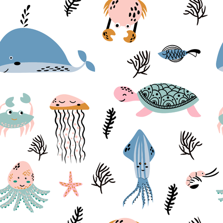 Sea life. Underwater world. Fish, jellyfish, sea bottom, backwaters ship, algae, treasure. Vector flat illustrations and icon set