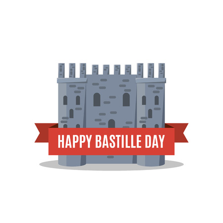 Bastille fortress with French tricolour flag for Bastille day.  イラスト・ベクター素材