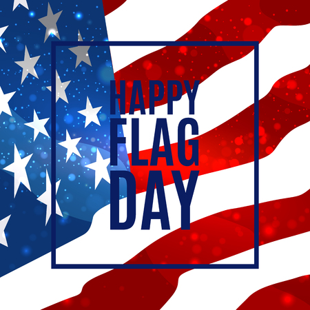 Happy Flag Day background template. Badge with blue ribbon. Greeting card. Vector illustration.