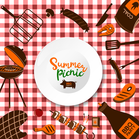 Vector realistic 3d illustration of white empty plate, gingham red plaid on green grass lawn. Spring, summer picnic in park. Banner, poster design template. Archivio Fotografico - 103601113