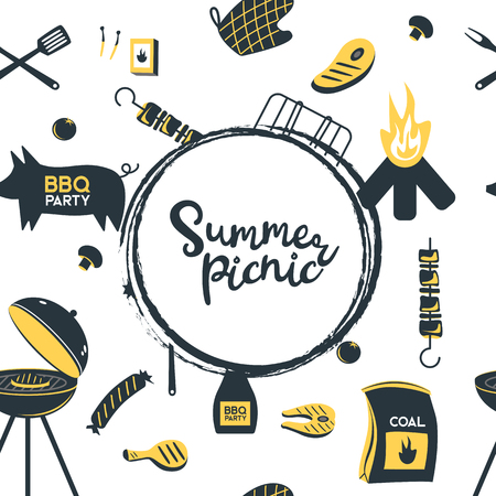 BBQ grill meat barbecue restaurant party at home dinner vector products skewer grilling kitchen equipment flat illustration Archivio Fotografico - 103601116