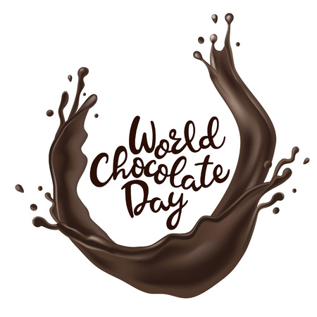 Happy Chocolate Day background with melted chocolate swirl Archivio Fotografico - 103311137