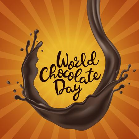 溶けたチョコレートの渦巻きとハッピーチョコレートデーの背景 写真素材 - 103311138