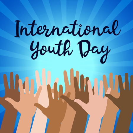 International Youth day,12 August, Hand Drawn Sketch Vector illustration. Archivio Fotografico - 103472418