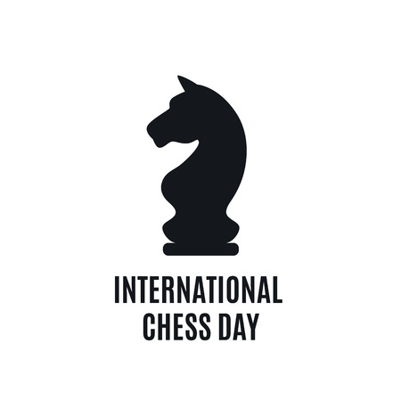 20th of July - international day of chess concept. beginning of a chess game on the old Board 向量圖像