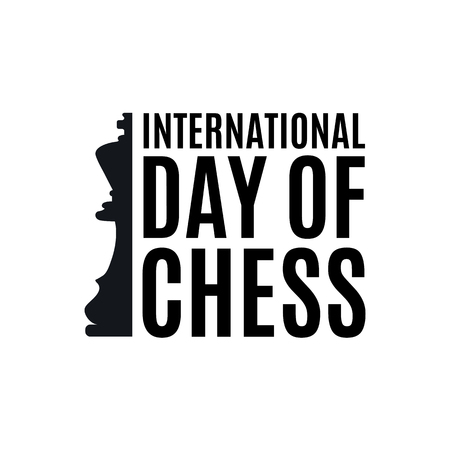 20th of July - international day of chess concept. beginning of a chess game on the old Board Ilustracja