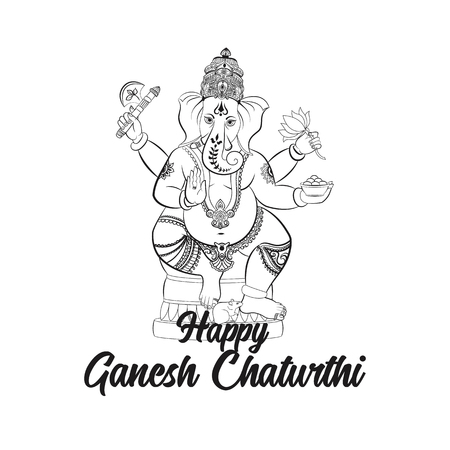 easy to edit vector illustration of Lord Ganpati on Ganesh Chaturthi background  イラスト・ベクター素材