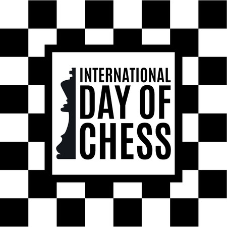 20th of July - international day of chess concept. beginning of a chess game on the old Board Stok Fotoğraf