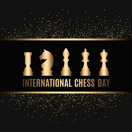 20th of July - international day of chess concept. beginning of a chess game on the old Board 版權商用圖片