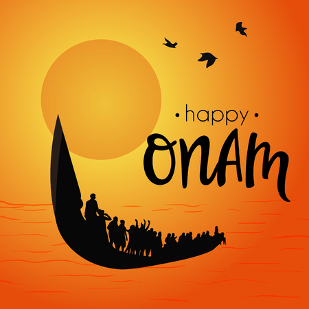Boat at river on decorative orange background for South Indian Festival Onam.
