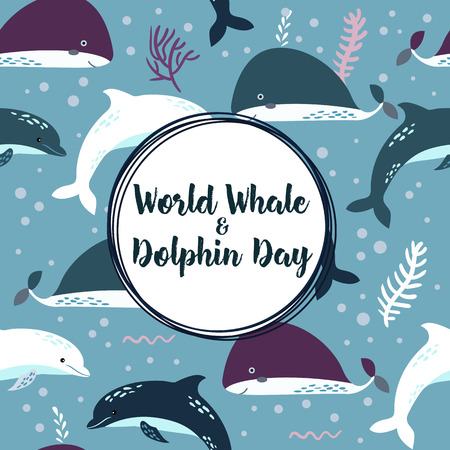 World whale and dolphin day poster. Seamless pattern