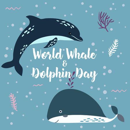 July 23 - the world day of whales and dolphins poster. Whale and Dolphin together.