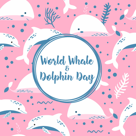 World whale and dolphin day poster. Seamless pattern Archivio Fotografico - 103676398