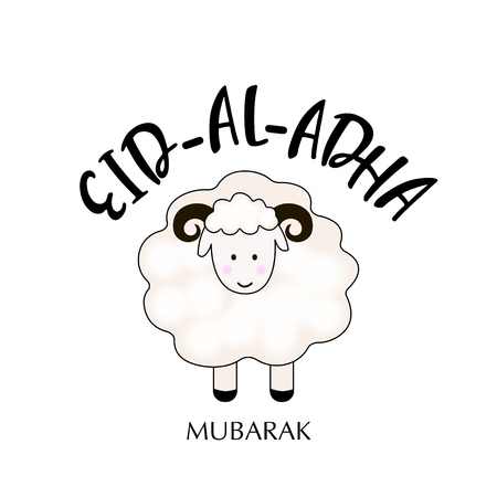Illustration of sheep on white background for Islamic Festival of Sacrifice, Eid-Al-Adha celebration.  イラスト・ベクター素材