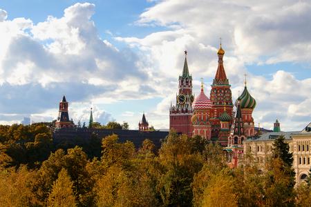 Autumn gold by the eyes of st basil s cathedral in Moscow.