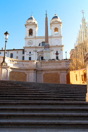 December 25, 2017. Spanish steps in sunny day in the historic center of Rome Italy. Stock Photo
