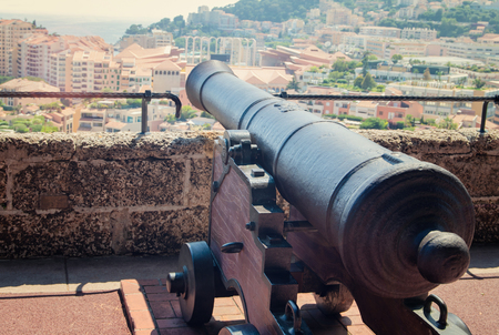 Cannon aiming at the sea. Monte Carlo old town of Monaco.