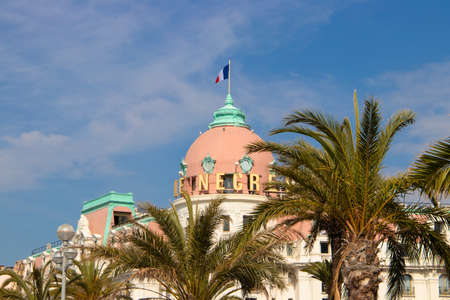May 26, 2018. Nice, France. Beautiful historic architecture of the famous Hotel Le Negresco - on the Promenade des Anglais.