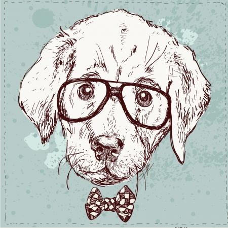ベクトルのメガネと流行に敏感な子犬のヴィンテージのイラスト