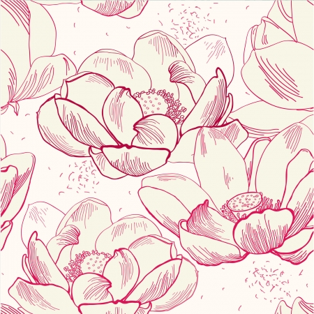 pink lily: Vector seamless pattern of flower  lotus isolated Illustration