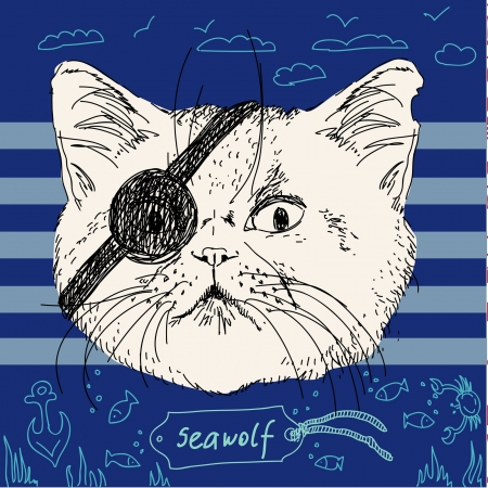 Hipster pirate cat Vectores