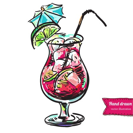 coctail hand drawn vector
