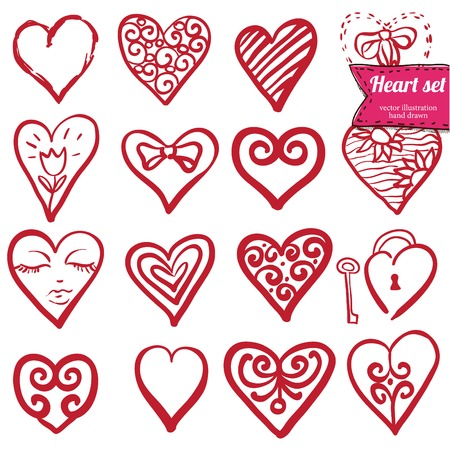Vector illustration of different hearts hand drawn, doodle set isolated, Vector