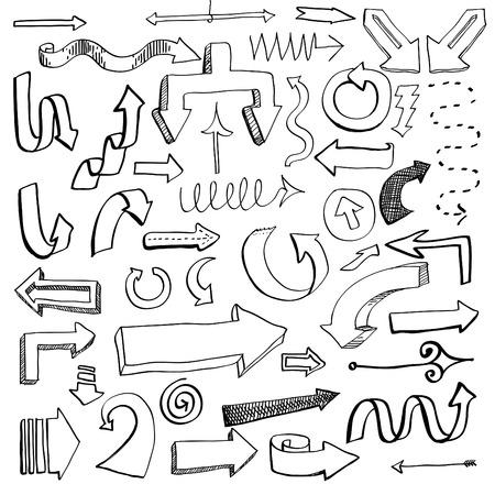 Vector illustratie van de set van de hand getekende schets van de pijl op wit wordt geïsoleerd Stock Illustratie